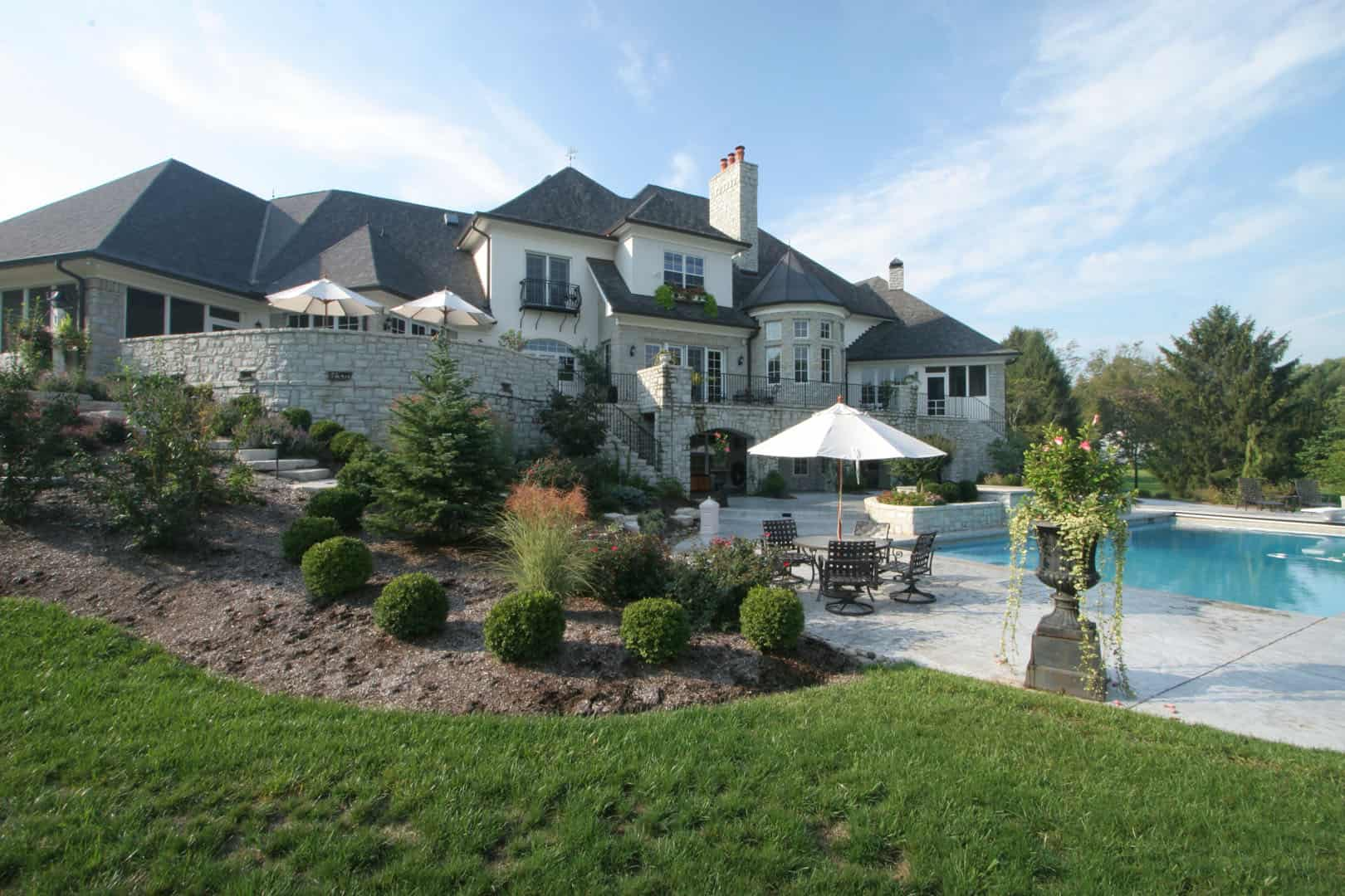 large house with pool and landscaping
