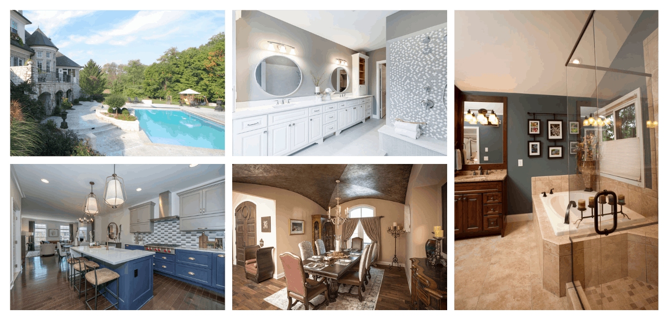 a collage of custom home features