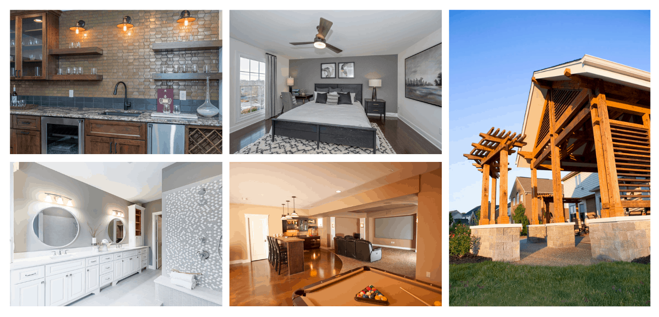 A collage of pictures of home renovations